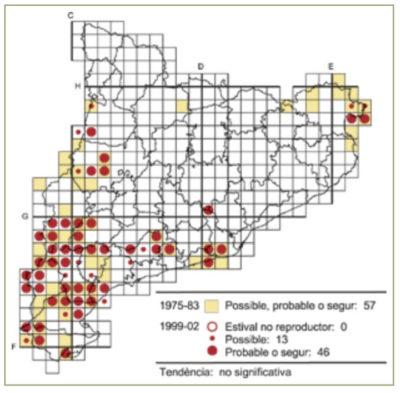 Distribució del còlit negre a Catalunya. Mapa Atlas 1999-2002. Institut Català d'Ornitologia